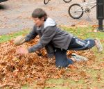 raking leaves caleb 2