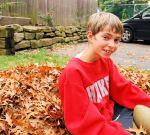 raking leaves josh face